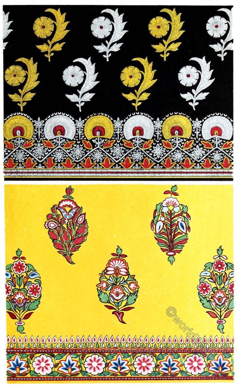 Textil design,Satin, Embroidery, India, specimen