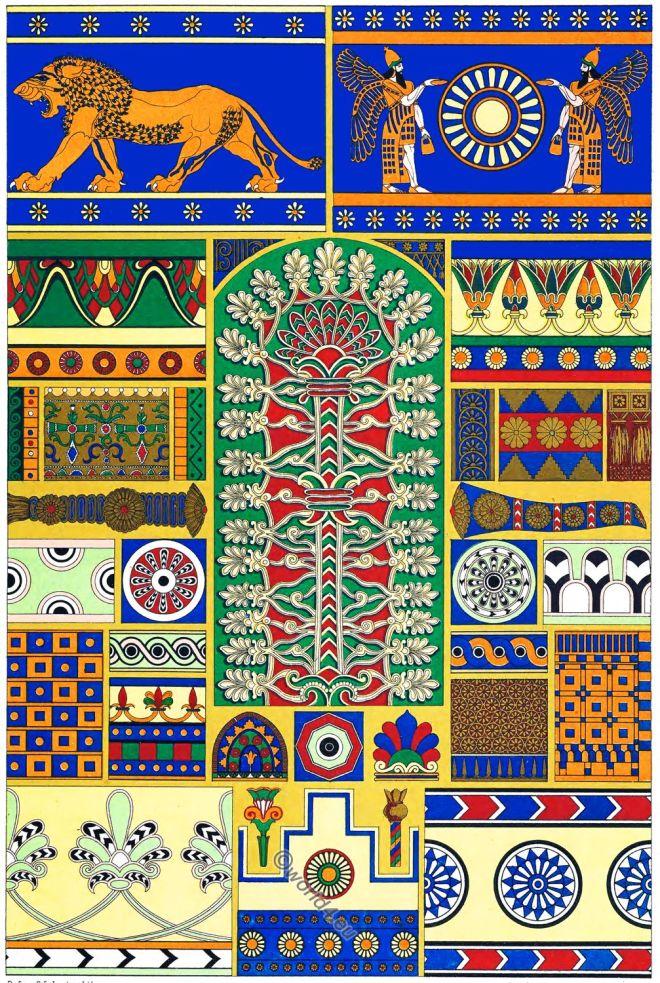 Racinet, Assyria, Persia, Art, Ornament, Decoration.