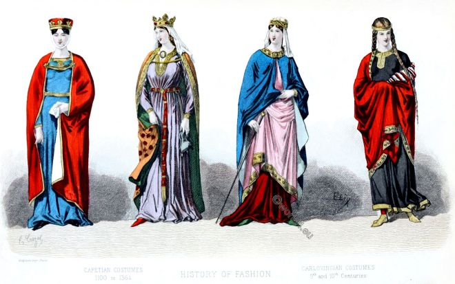 Carolingian, Capetian, costumes, fashion, history, middle ages,