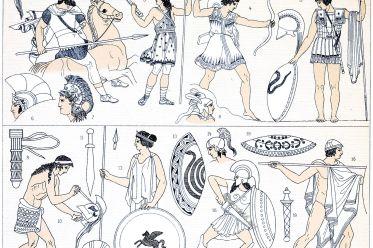 Greek, War costumes, weapons, Spartans, Hoplites, Peltasts