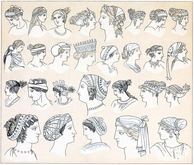 Hairstyles, headgear, ancient, Greece, Anademata, Sphendone, Opisthosphendone, Kekryphalos