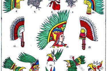 Mexican, Head-dress, feather, head-dresses, Illustrations, war-costume,