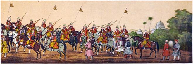 India, horsemen, Mughal Empire, Emperor Akbar Shah II, Procession, court,