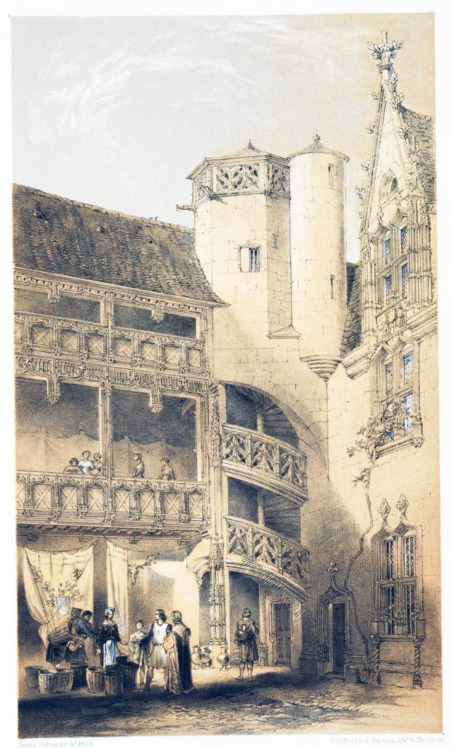 Hôtel, Chambellan, Dijon, Court, Gothic, middle ages, Architecture, France,