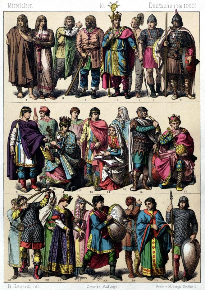 Germans, clothing, Goths, Lombards, Merovingians, Carolingians, Middle Ages