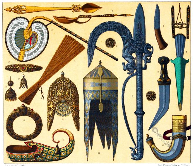 India, Mughal Empire, Auguste Racinet, Weapons, Jewelry, Equipment
