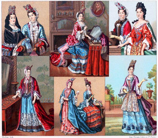 Female, fashion, Louis XIV., Baroque, Capote, Muff, Fontange, Baskine,