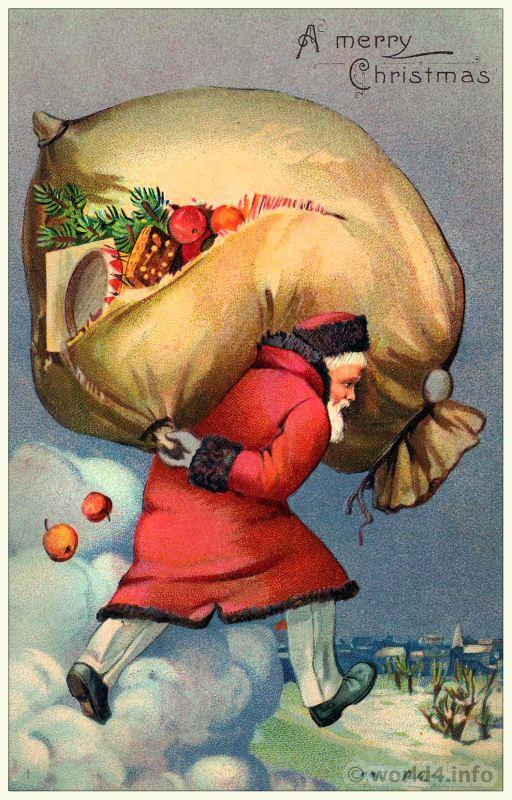 Vintage Santa Claus Postcard A Merry Christmas 1920s