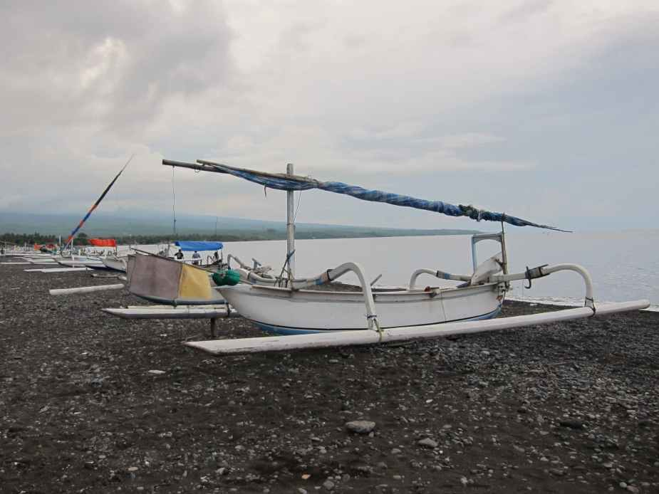 Jukung on Amed beach - fun things to do in Bali
