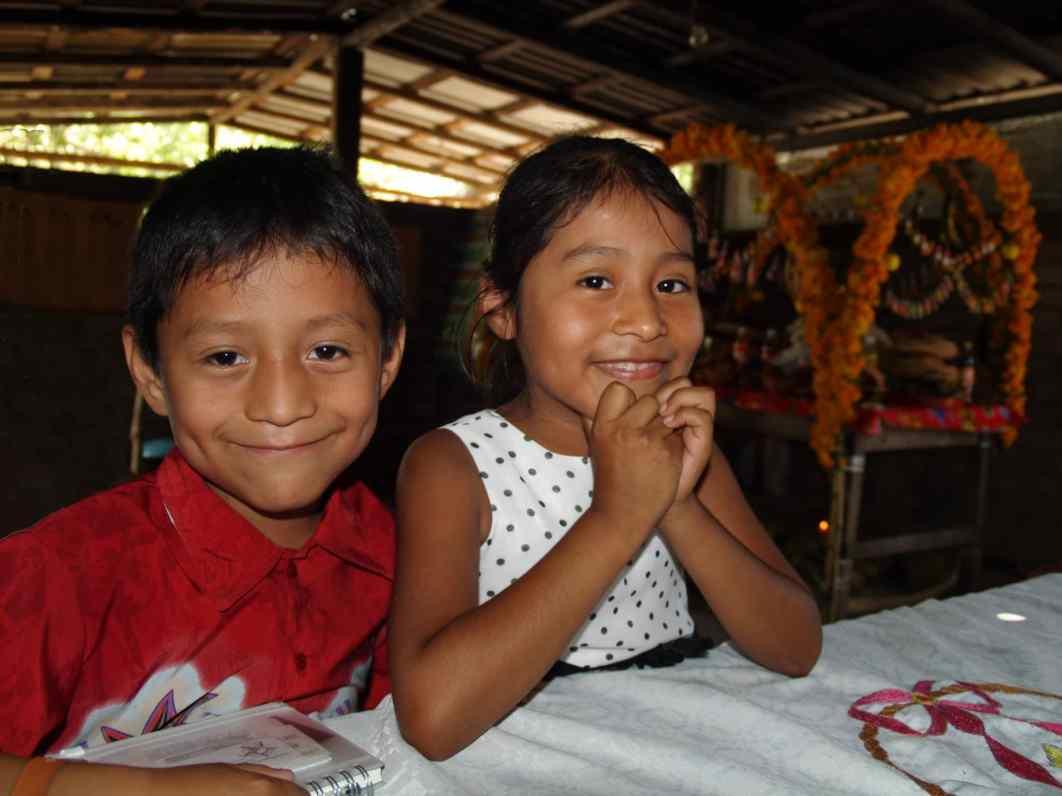 kids during dia de los muertos between puerto Escondido and Oaxaca