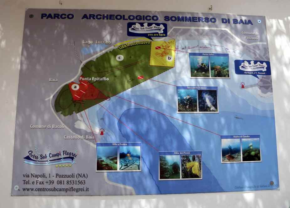 map spots scuba diving archeological park Baia