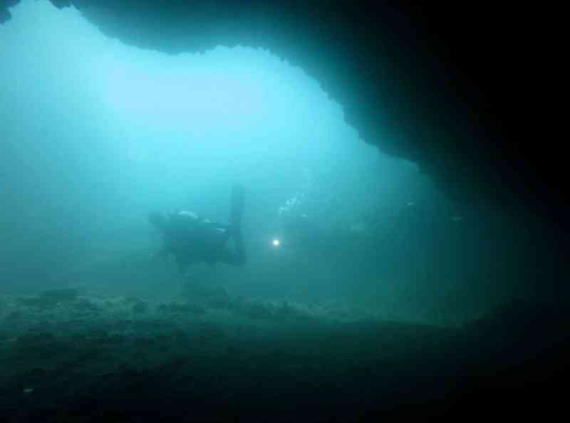Gato island cavern Scuba diving Malapascua Philippines