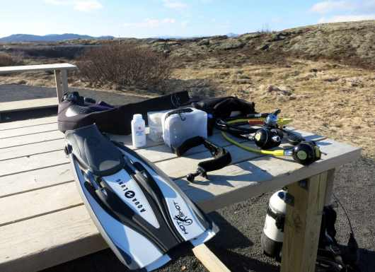 scuba diving equipment silfra Iceland
