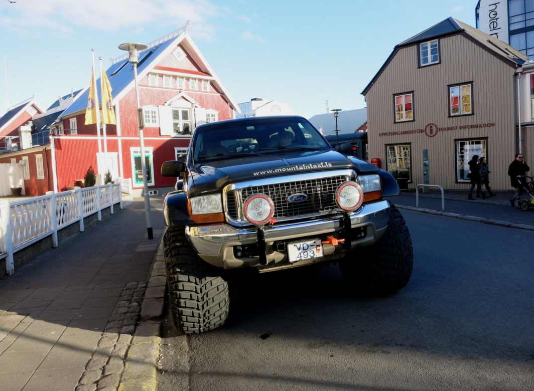 Big SUV truck streets of Reykjavik city centre Iceland