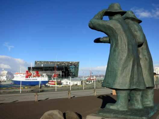 Port and HARPA concert Hall Reykjavik Iceland
