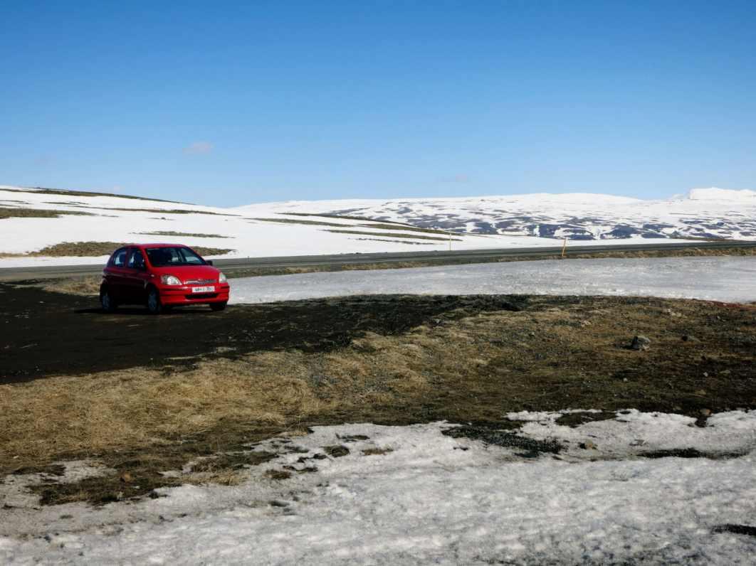Road with snow in April Reykjavik - Thingvellir / Pingvellir Iceland