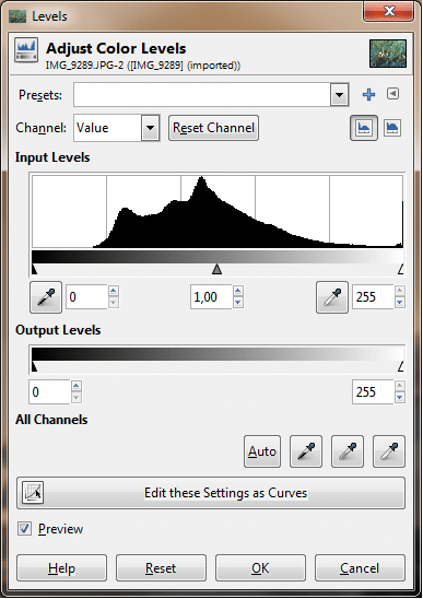edit underwater photos - gimp levels tool