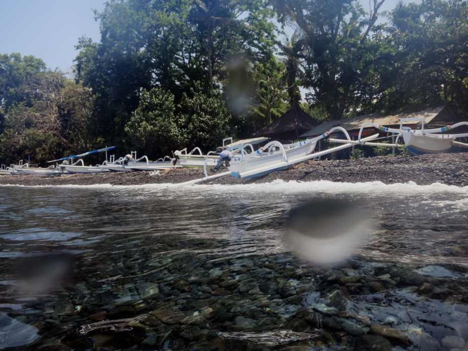 Tulamben beach Jukung boats Bali Indonesia