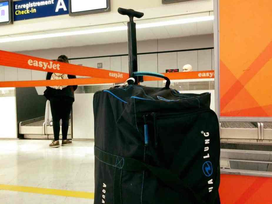 My diving bag at the airport
