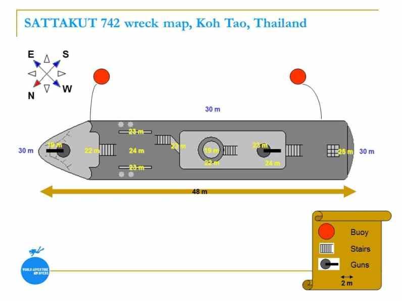 SATTAKUT 742 Koh Tao Thailand wreck map