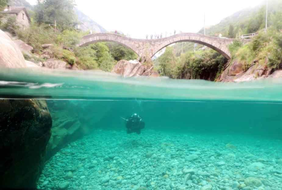 Pozzo dei Salti Scuba diving in Verzasca River Switzerland - Best diving in Europe