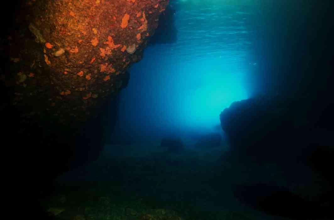 Scuba diving in the Blue Cave Alonissos Greece