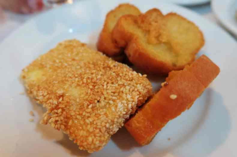 Fried feta cheese with sesame Alonissos Greece