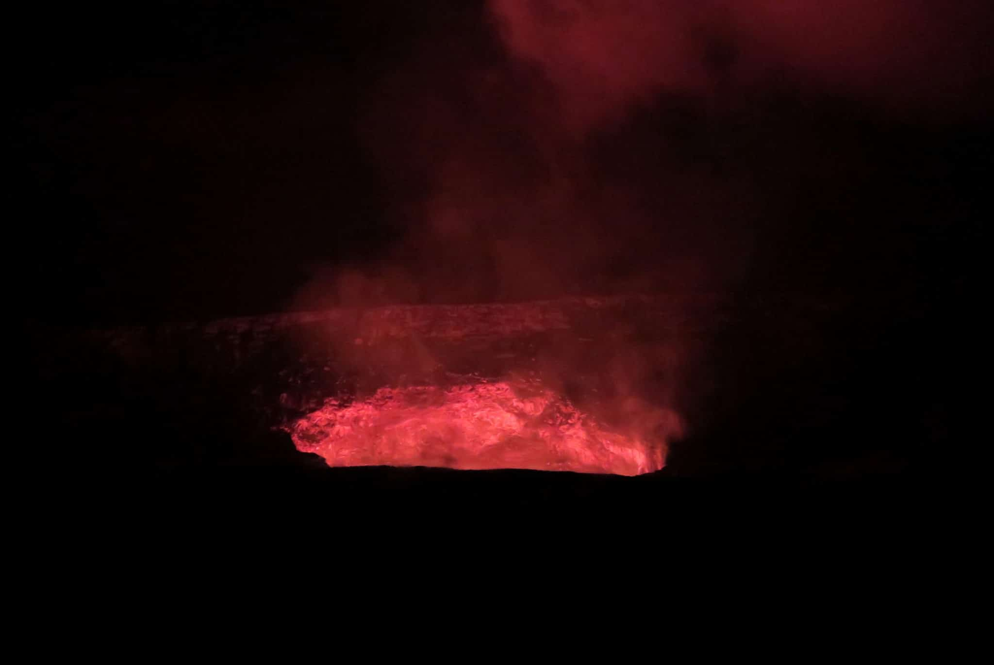 Kilauea Crater glowing at night Volcano National Park Big Island Hawaii