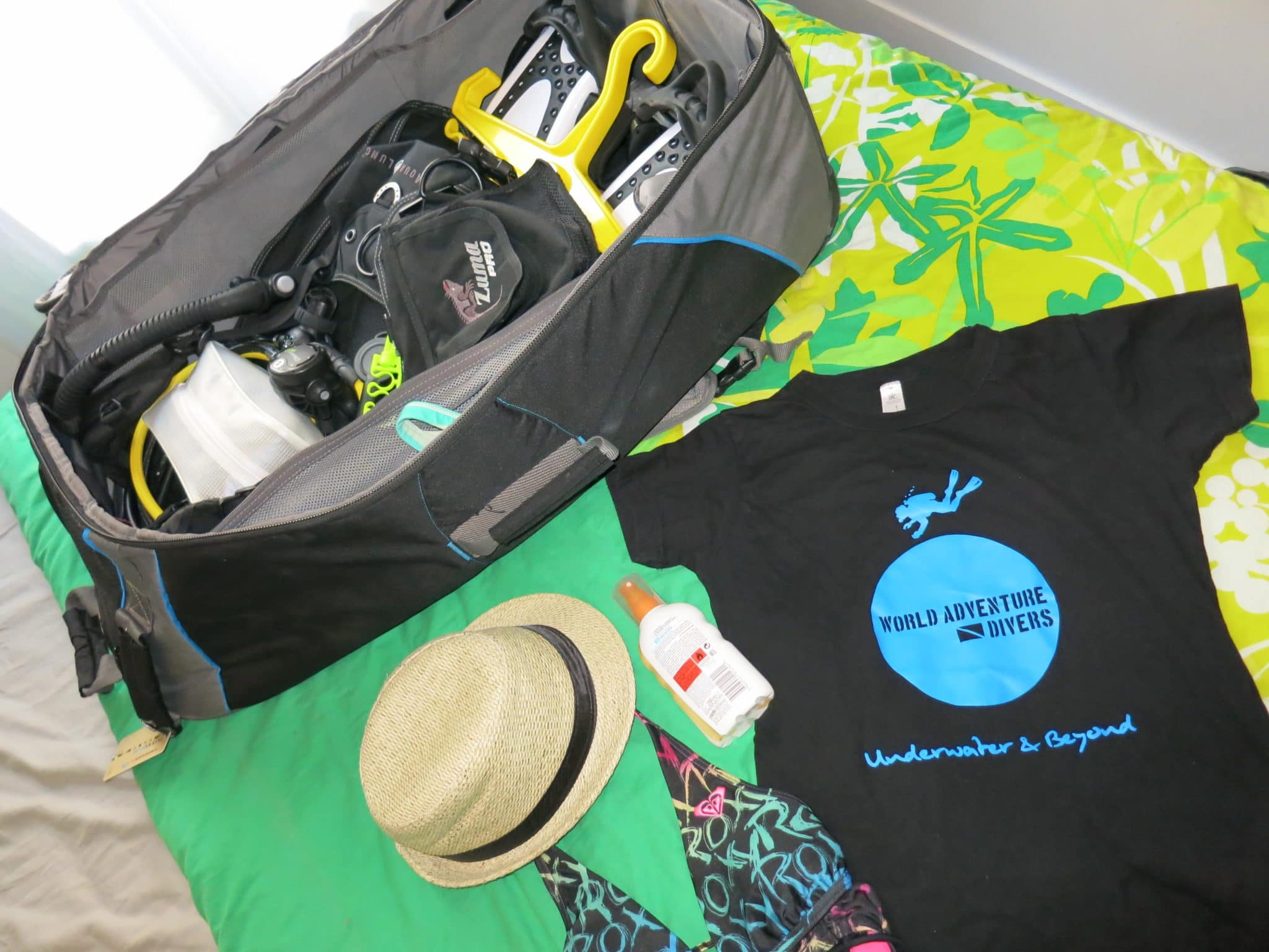 Inside my scuba diving bag