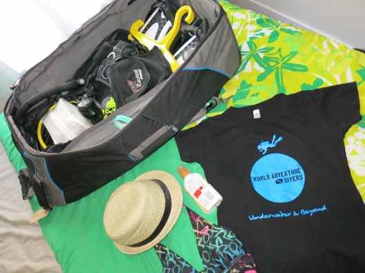 Inside my scuba diving bag