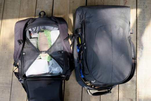 scuba diving gear in my hybrid backpack trolley case