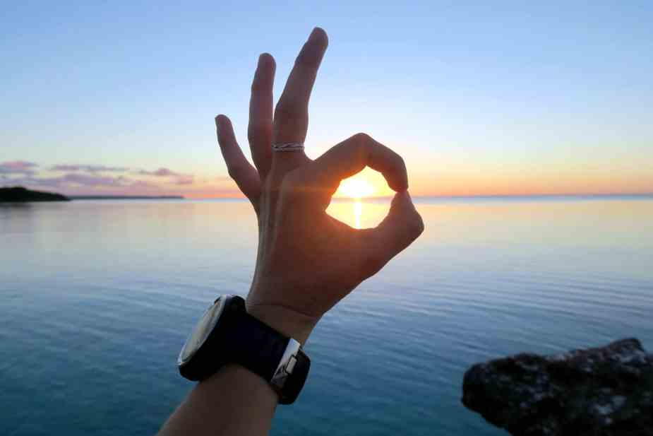 OK sign sunset Lifou New Caledonia