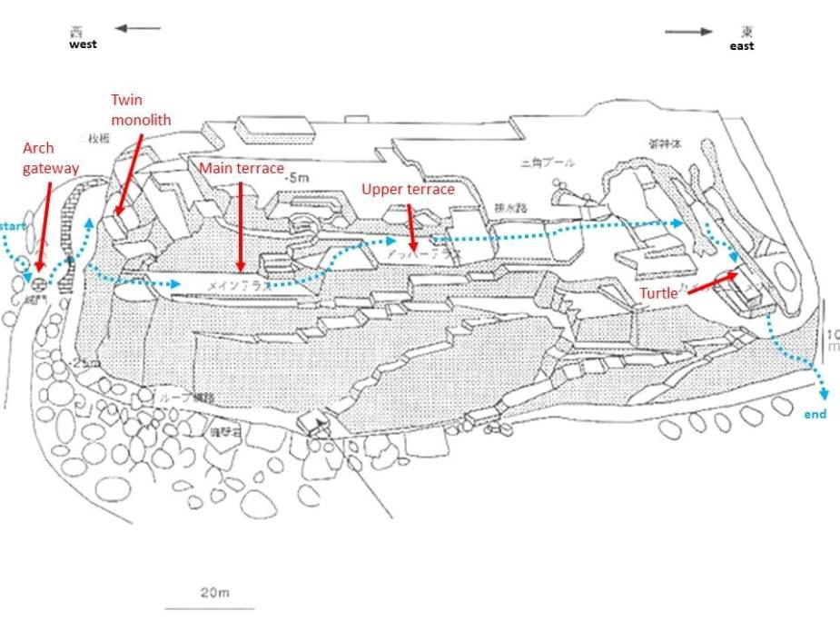 Yonaguni ruins map