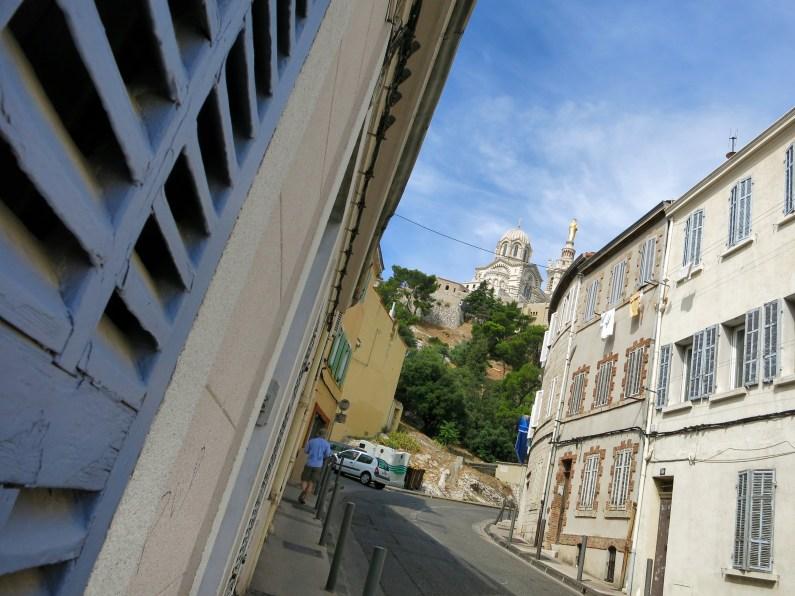 walking up to Notre dame de la garde Marseille