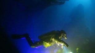 night dive in Capodacqua Lake Italy