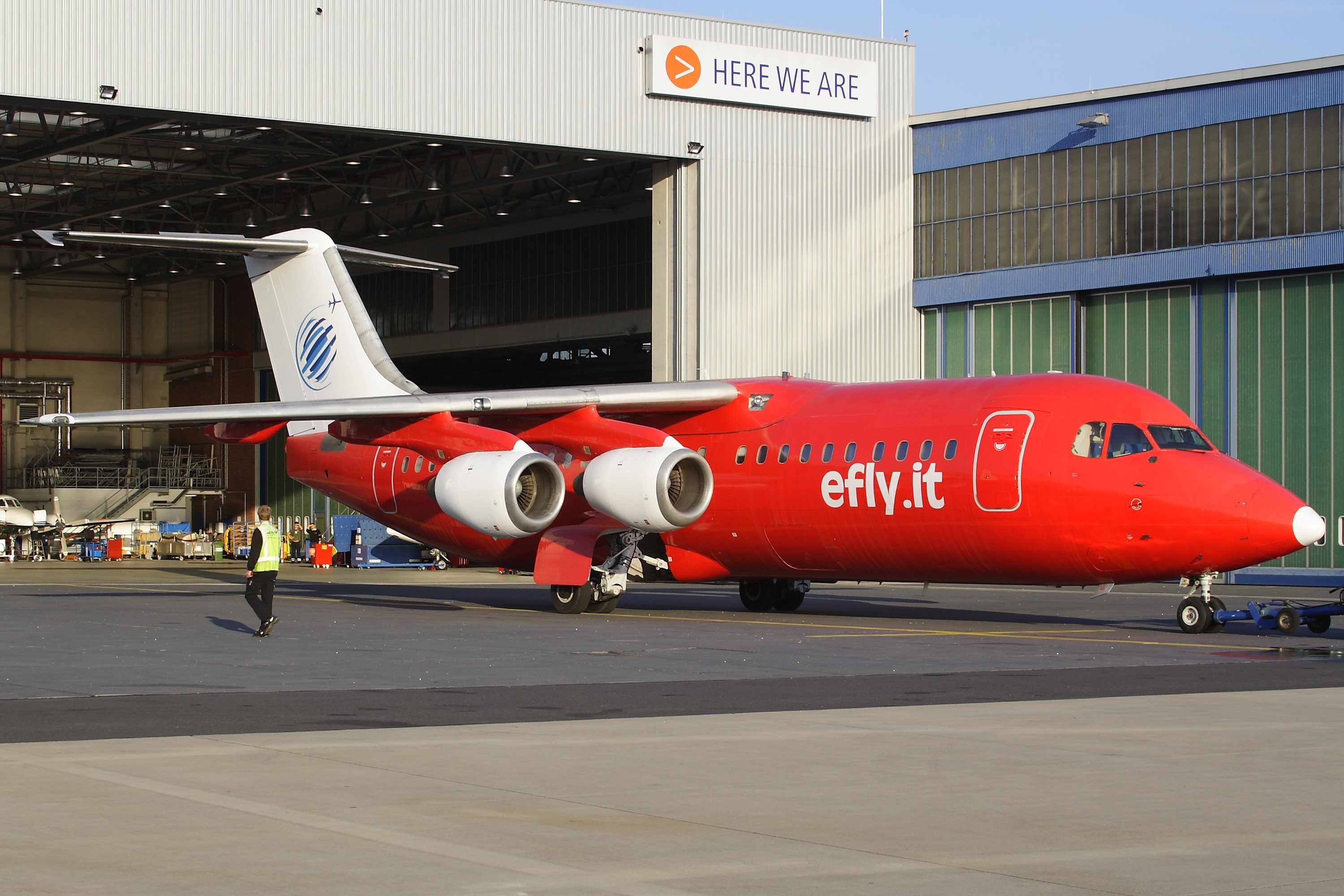 The first BAe 146-300 for new airline Efly (efly.it) of Italy is this aircraft currently registered 9H-ELE (msn E3209).  It is undergoing maintenance at Cologne (Nayak).  Copyright Photo: Rainer Bexten.
