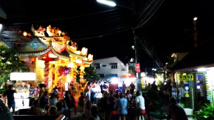 The Maenam walking street market is centered around the Chinese temple.
