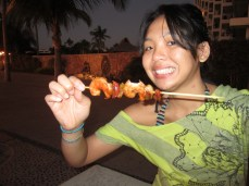I love food on a stick. This shrimp was being sold all over the Malecon.