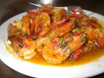 A pound of shrimp that we bought and got cooked in garlic butter. Absolutely delicious. The meal came out to about 500 PHP.