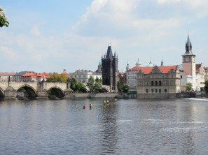View of Charles Bridge and Vltava River from Kampa Island.