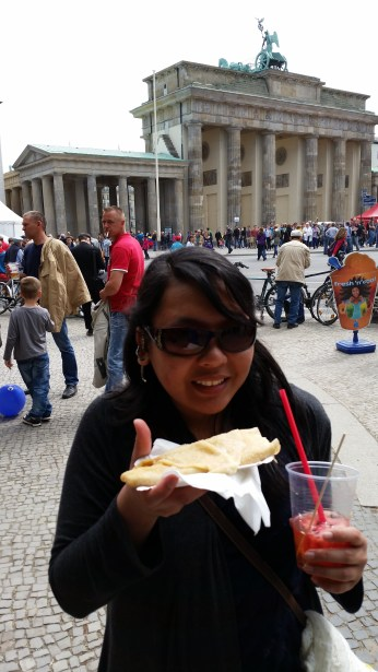 Crepes and sangria for breakfast during an event near the Brandenburg Gate.