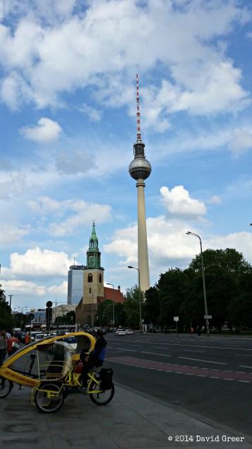 The Berlin TV Tower as seen from Unter den Linden.