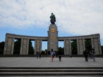 The Soviet War Memorial is located near the middle of Tiergarten.