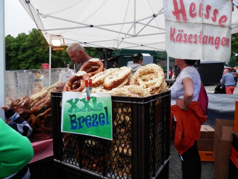 Giant pretzels on the street.
