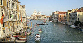 View of the famous Grand Canal from atop the Rialto.