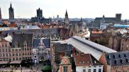 View of Ghent and the river Leie from Gravensteen.
