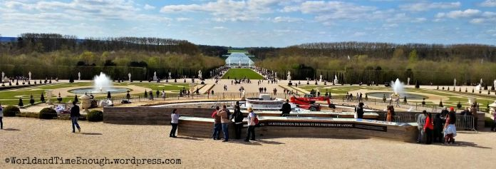 The Versailles grounds and the Latona fountain in repair