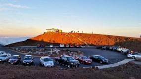 Haleakala National Park Visitor Center parking lot at sunset
