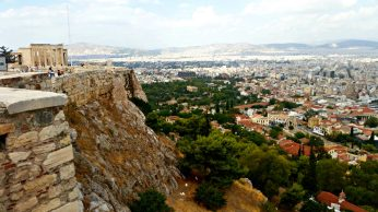 The Erectheion and the Plaka from the edge of the Acropolis.