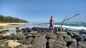Gillin's Beach. The rest of Mahaulepu stretches behind David.